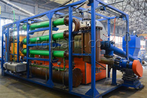 Continuous pyrolysis plant for plastic treatment