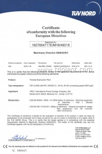 International certificate of compliance with the requirements of the Directive 2006/42/EC on essential health and safety requirements of machinery for pyrolysis plant TDP-2-2000