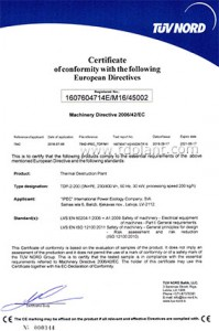 International certificate of compliance with Directive 2006/42/EC on machinery